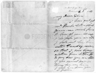 Letter from George Stephenson to Ellen Gregory  c 1840-1848.