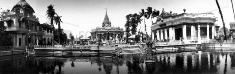 Panoramic view of Asian temples and an orna