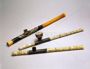 Three ivory opium pipes  Chinese  19th century.