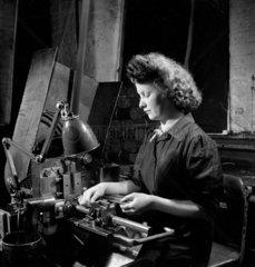 Female machinist at United Steel  Sheffield  1947.