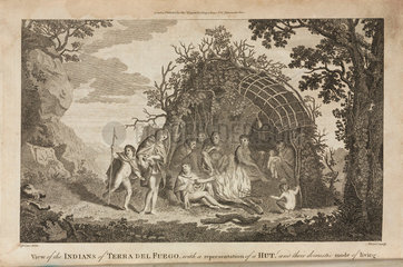 'View of the Indians of Tierra Del Fuego  with a representation of a Hut...'  c 1775.