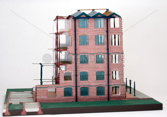 Model of Bage's flax mill at Shrewbury  constructed by Cecil A. Hewett.