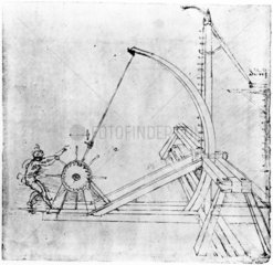 Technical drawing of siege catapult by Leonardo da Vinci  1470-1520.