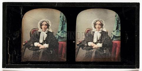 Stereo-daguerreotype of an elderly woman  c 1853.