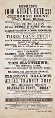 Advertisement for 'Nicholson's 1000 Guinea Fete'  1843.
