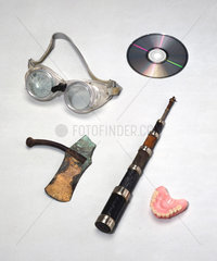 An assortment of domestic and industrial items.