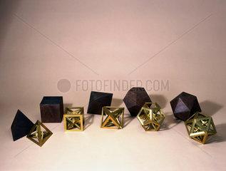 Five regular skeletal polyhedra  c 1650-1691.