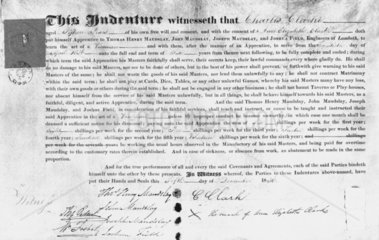 Indenture of apprenticeship to the firm of Maudslay Sons and Field  1836.
