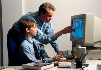 Child learning to use a computer  1997.