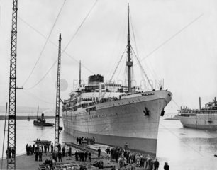 'Athlone Castle' liner being dry-docked at Belfast  28 April 1936.