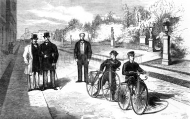Emperor Napoleon III and the Prince Imperial cycling at the Tuilleries  1869.