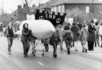 Anti-nuclear protest at USAAF Burtonwood  Merseyside  April 1984.