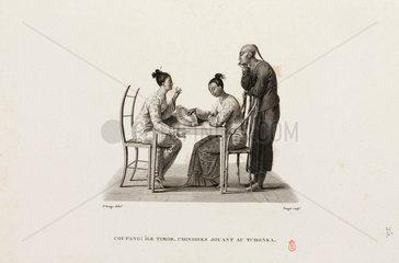 Chinese women playing 'Tchonka'  Kupang  Timor  1817-1820.