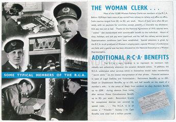 Railway Clerks Association recruitment advertisement c 1920.