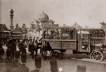 Police on wire-caged lorry during student riots  Egypt  8 March 1928.