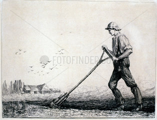 Labourer using a breast plough  1882.