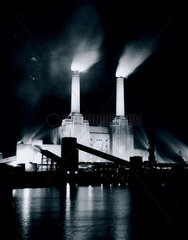 Battersea Power Station  London  3 January 1956.