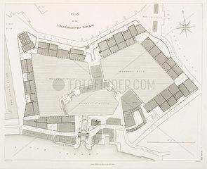 Plan of St Katharine's Docks  London  1838.