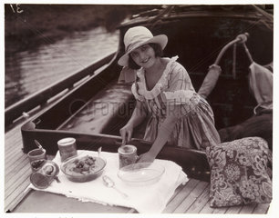 Woman on a boat  c 1925.
