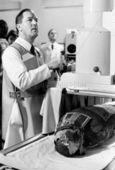 Scientist X-Raying a mummy  15 january 1979.
