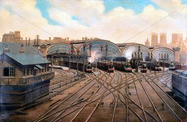 Steam locomotives at York Station  Yorkshire  c 1910.