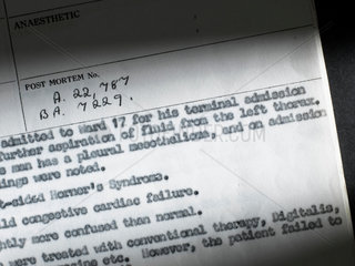 'Terminal admission' - hospital report of death from lung disease  1965.