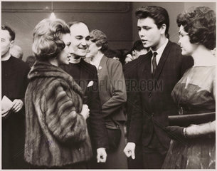 Princess Margaret and the Bishop of Bath and Wells meet Cliff Richard. 22/03/1962