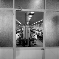 Wide view through window to women on semi-conductor assembly line. 1967.