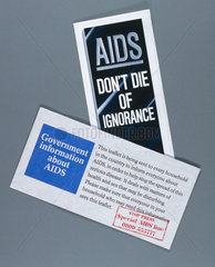 Government AIDS awareness leaflets  1987.