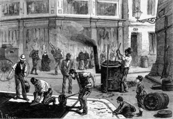 Workers laying asphalt  France  c 1881.