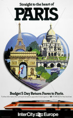 'Straight to the Heart of Paris'  BR poster  c 1980s.