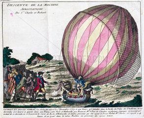 The first flight in a hydrogen balloon  1 December 1783.