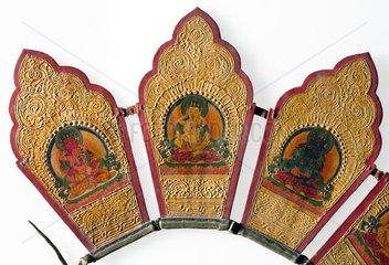 Buddhist priest's crown  Tibetan  19th century.