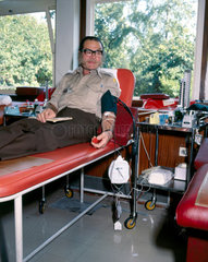 Blood donor at the North London Blood Transfusion Centre  1980.