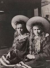 Maria and Anastasia  daughters of Tsar Nicholas II of Russia  1910s.