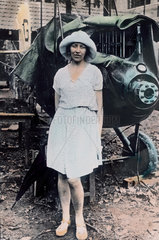 Amy Johnson at Rangoon with damaged plane  Burma (Myanmar)  3 June 1930.