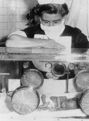 Baby lying in an incubator  January 1962.