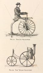 'The Ice Velocipede' and 'The Steam Velocipede'  1869.