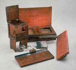 A daguerreotypist's equipment  c 1840.