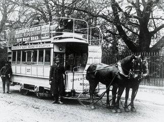 North Metropolitan Tramways horse car  London   c 1895.