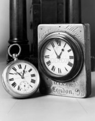 Two railway workers' timepieces  c 1900 and