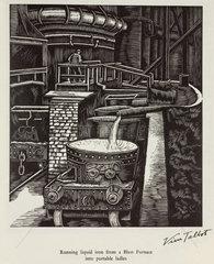 'Running liquid iron from a Blast Furnace into portable ladles'  20th century.