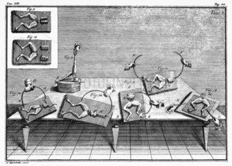 Excitation of nerves in frog legs  c 1791.