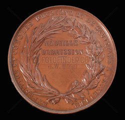Ticket medal for admission to a health conference in Brussels  1876.