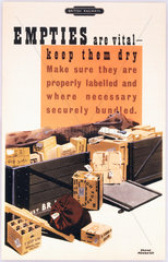 'Empties are Vital - Keep them Dry'  BR poster  c 1950s.