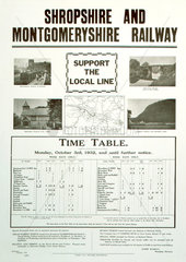 'Support the Local Line'  Shropshire & Montgomeryshire Railway poster  1932.