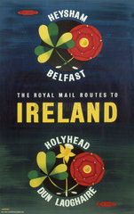 'The Royal Mail Routes to Ireland'  BR poster  1957.
