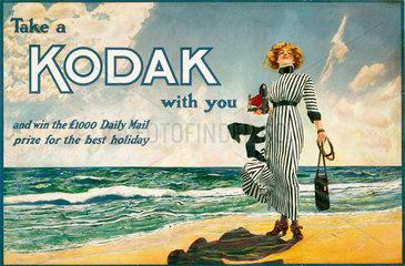 'Take a Kodak with you'  advertisement for Kodak cameras  British  c 1910.