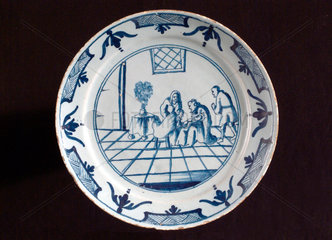 Tin glazed earthenware plate  English  18th century.