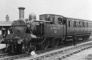 Metropolitan Railway locomotive No 23 with train  c 1930.